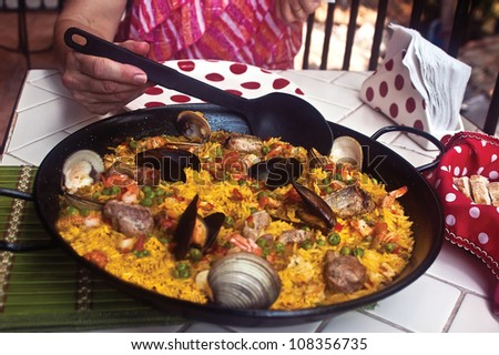 Paella for Dinner - stock photo