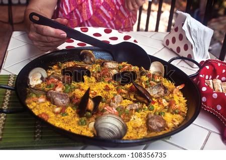 Paella for Dinner - stock photo