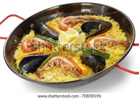 paella , rice dish , spanish food - stock photo