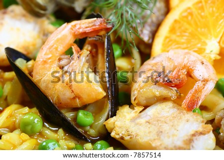 paella scampi mussels shrimp food fish dinner - stock photo