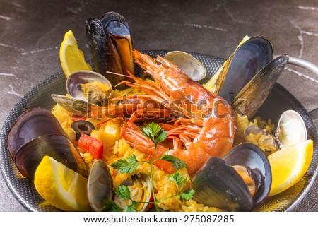 paella Spanish food - stock photo