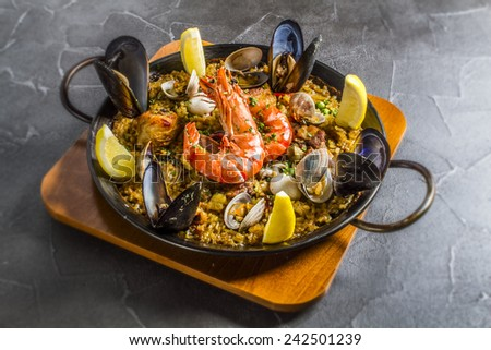 paella Spanish rice - stock photo