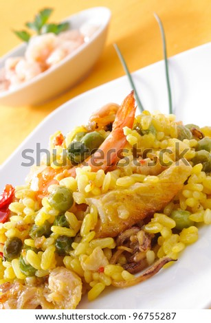 Paella, typical Spanish dish, closeup