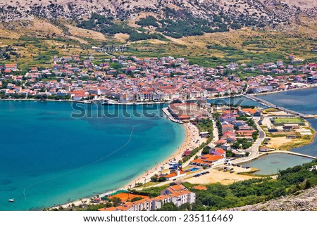 Pag island bay aerial view, Dalmatia, Croatia - stock photo