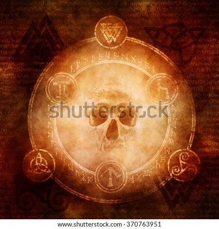 Pagan Dark Magic design with a sinister skull materialising within a magic circle of elaborate pagan and runic symbols.  - stock photo