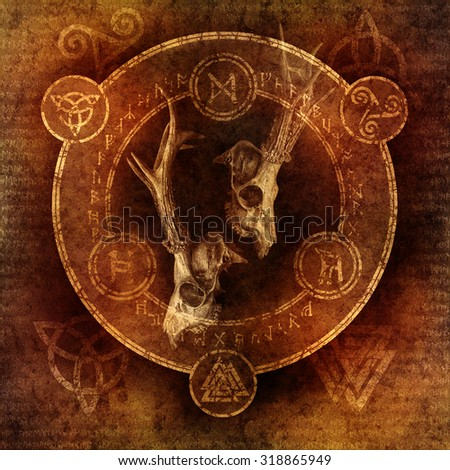 Pagan Stag Ceremony with two deer skulls enclosed within a magic circle of mysterious pagan and runic symbols. - stock photo