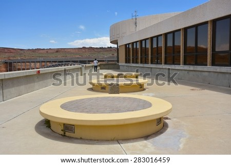 PAGE, AZ - MAY 26: Carl Hayden Visitor Center on May 26, 2015 in Page AZ,USA. Thousands of people from all over the world come to visit Glen Canyon Dam. - stock photo