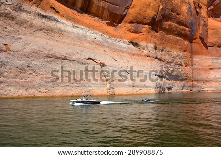 PAGE, AZ - MAY 24: Rainbow Bridge Cruise at Lake Powell on May 24, 2015 in Page AZ,USA. Thousands of people from all over the world come to visit this beautiful place every yea