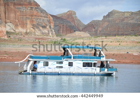 PAGE, AZ - MAY 24: Rainbow Bridge Cruise at Lake Powell on May 24, 2015 in Page AZ,USA. Thousands of people from all over the world come to visit this beautiful place every year.