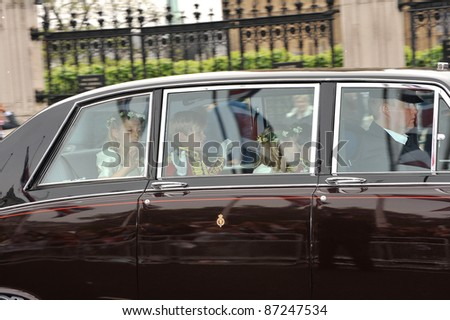 Page boys & bridesmaids arriving at Westminster Abbey for the royal wedding of Prince William & Kate Middleton. April 29, 2011  London, UK Picture: Paul Smith / Featureflash - stock photo