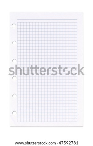 Page from an organiser. Isolated on white. Clipping path included. - stock photo