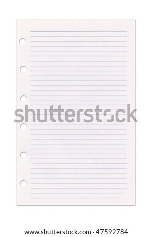 Page from an organiser. Isolated on white. Clipping path included.
