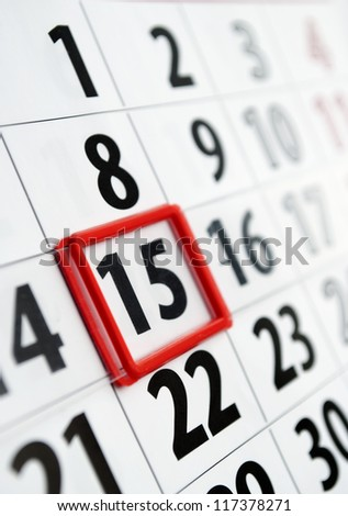 page is marked with a date calendar - stock photo