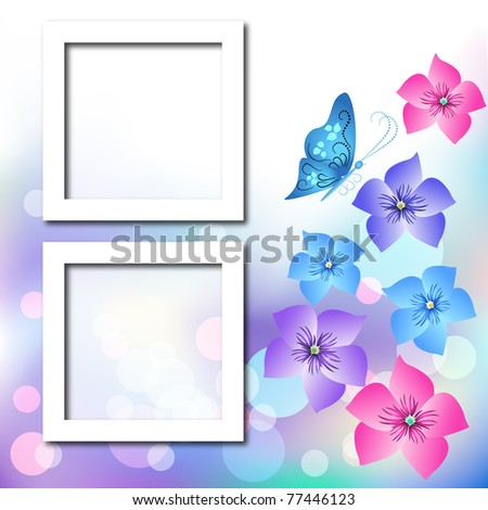 Page layout photo album with flowers and butterfly. Raster version of vector. - stock photo