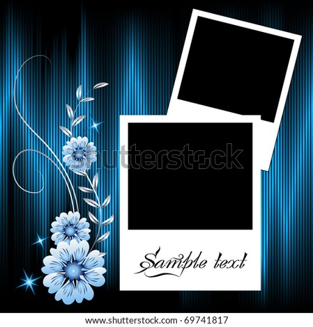 Page layout photo album with ornament. Raster version of vector. - stock photo