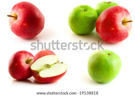 page of apples isolated on the white