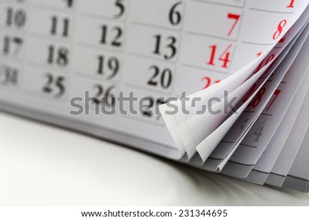 page of calendar  - stock photo