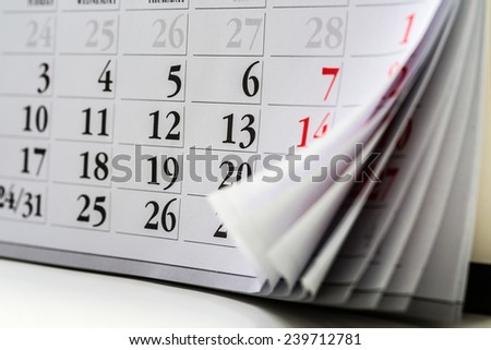 page of calendar
