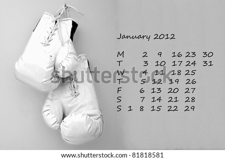Page of calendar of 2012, Olympic year. Month of April, sport of boxe