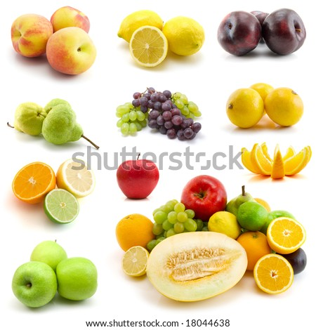 page of fruits isolated on white background - stock photo