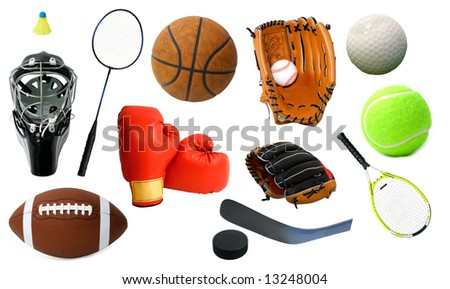 Page of Sports Items - stock photo