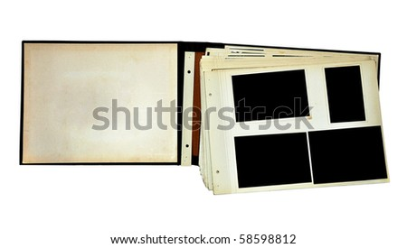 Page of vintage photo album, with blacked out photo frames - stock photo