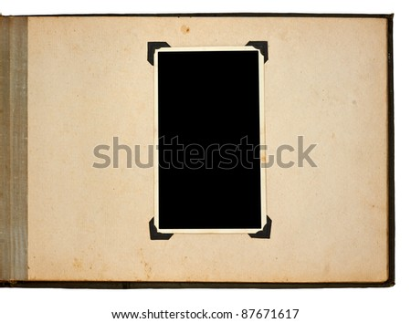 Page of vintage photo album, with photo frames. - stock photo