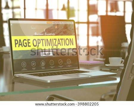 Page Optimization Concept. Closeup Landing Page on Laptop Screen  on background of Comfortable Working Place in Modern Office. Blurred, Toned Image. 3D Render.