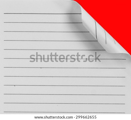 page ripped off from the notebook on red - stock photo
