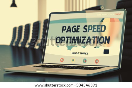 Page Speed Optimization on Landing Page of Mobile Computer Screen in Modern Conference Room Closeup View. Toned. Blurred Image. 3D Rendering.