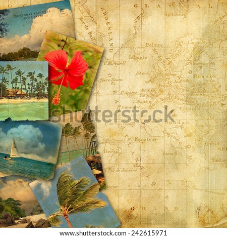 Page to design photo book. Old postcards on ancient map - stock photo