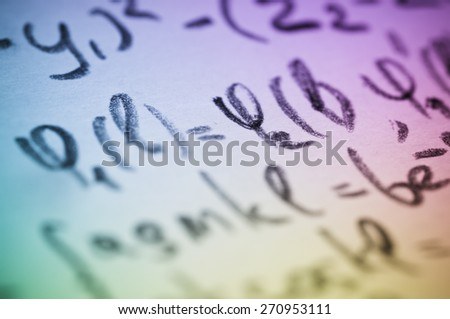 Page with physical formulas and calculations, toned photo - stock photo