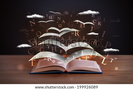 Pages and glowing letters flying out of a book on wooden deck - stock photo