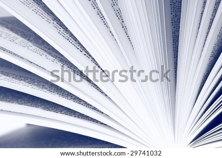 Pages of an opened book - colored blue - stock photo