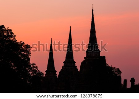 Pagoda at wat phra sri sanphet temple at twilight, Ayutthaya, Thailand