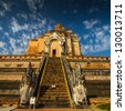 Pagoda in northern Thailand Wat Chedi Luang, Chiang Mai,Thailand - stock photo