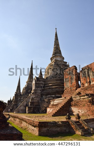 pagoda in temple, Ayutthaya, central of Thailand, World Heritage,blue sky  - stock photo