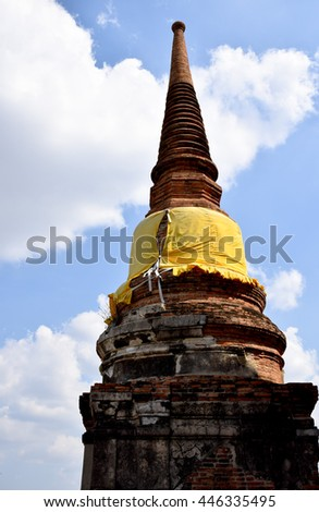 pagoda in temple, Ayutthaya, central of Thailand, World Heritage, blue sky, blue sky cloud, - stock photo