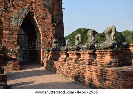 pagoda in temple, Ayutthaya, central of Thailand, World Heritage , blue sky, blue sky cloud, - stock photo