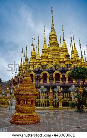 Pagoda in temple, Phrae, northern of Thailand, cloudy, - stock photo
