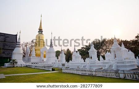 Pagoda in thai temple - stock photo