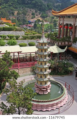 Pagoda in the central courtyard of a Chinese temple - stock photo