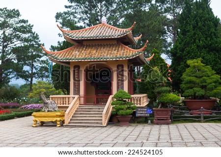 Pagoda in Thien Vien Truc Lam Monastery. Dalat. Vietnam. - stock photo
