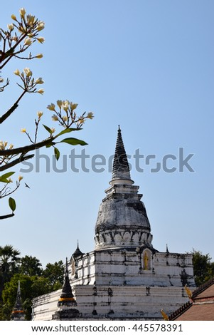 pagoda in Uttaradit, northern of Thailand,blue sky, blue sky cloud - stock photo