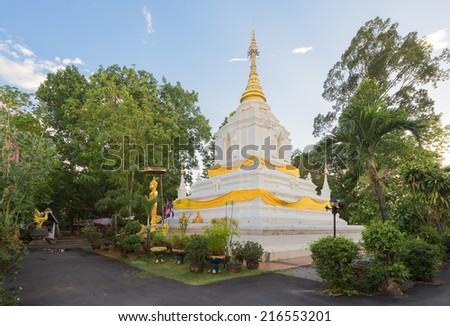 Pagoda In Wat Cang Kump , Wiang Kum Kam, Chiangmai, Thailand. - stock photo