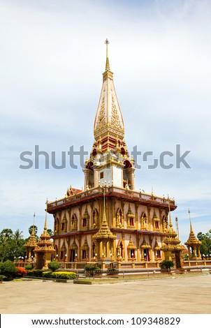 Pagoda in Wat Chalong or Chaitharam Temple, Phuket, Thailand. - stock photo