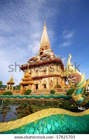 Pagoda in wat chalong phuket - stock photo