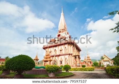 Pagoda in wat Chalong, Phuket, Thailand - stock photo