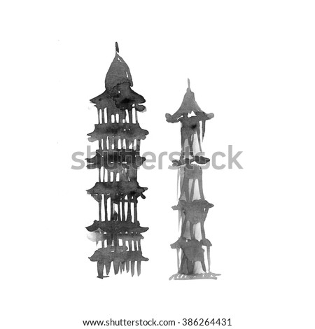 Pagoda. Ink illustration. Oriental traditional painting. - stock photo