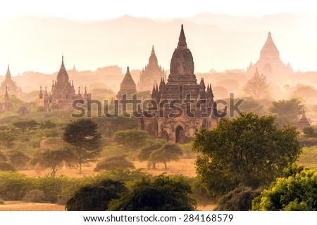 Pagoda landscape in the plain of Bagan, Myanmar (Burma) - stock photo